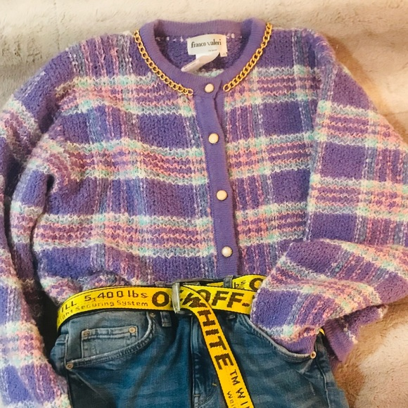 Vintage Plaid Knit Cardigan with Chain Detail